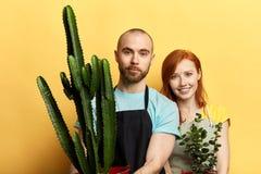 Привлекательные внушительные молодые люди с цветками представляя к камере стоковое фото rf