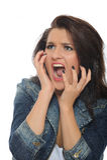 привлекательные выражения screaming детеныши женщины Стоковые Фотографии RF