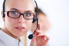 Привлекательные положительные молодые предприниматели и коллеги в офисе центра телефонного обслуживания предприниматели Стоковое Изображение