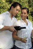привлекательные glas пар имея вино Стоковая Фотография