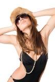 привлекательный носить swimsuit повелительницы шерсти крышки стоковые фото