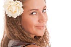 привлекательный портрет девушки цветка Стоковое Изображение RF