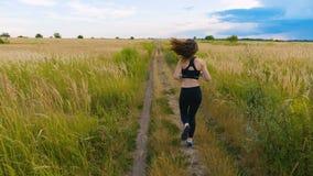Привлекательный спортсмен молодой женщины бежать в работать страны jogging наслаждающся бегуном здорового образа жизни фитнеса же акции видеоматериалы