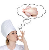 привлекательный шеф-повар рассматривая сварить девушку delicio Стоковое Фото