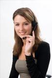 привлекательный шлемофон девушки Стоковые Фото