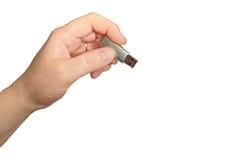 Привод вспышки USB в руке стоковая фотография rf