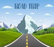 Привод шоссе с красивым ландшафтом иллюстрация штока