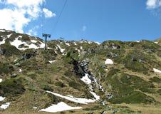 Привяжите транспорт на леднике Kitzsteinhorn, горы Альпов в Австрии стоковое фото rf