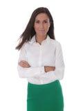 Привлекательная бизнес-леди изолированная над белым нося bl стоковая фотография