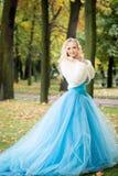 Привлекательная женщина в длинном голубом платье в парке blondish стоковое изображение