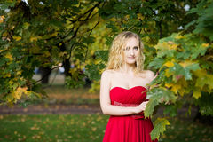 Привлекательная женщина в длинном красном платье в парке blondish стоковые фотографии rf