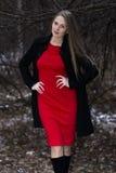 Привлекательная женщина в красном платье и черное пальто стоя в зиме паркуют Стоковое фото RF