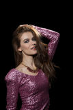 Привлекательная женщина в платье партии. Мода Стоковое Изображение RF