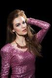 Привлекательная женщина в платье партии. Мода Стоковое Фото