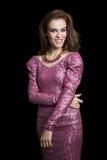 Привлекательная женщина в платье партии. Мода Стоковая Фотография