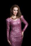Привлекательная женщина в платье партии. Мода Стоковая Фотография RF