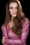 Привлекательная женщина в платье партии. Мода Стоковые Фотографии RF