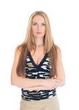 Привлекательная женщина при сложенные руки стоковое фото rf