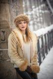 Привлекательная женщина с коричневыми крышкой и курткой меха наслаждаясь зимой Взгляд со стороны модной белокурой девушки предста Стоковое Изображение