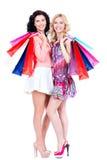 Привлекательная женщина с multicolor хозяйственными сумками Стоковые Фотографии RF