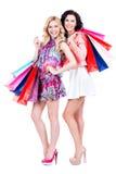 Привлекательная женщина с multicolor хозяйственными сумками Стоковое Изображение