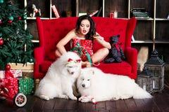 Привлекательная женщины рождественская елка почти Стоковая Фотография RF