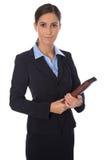 Привлекательная изолированная усмехаясь бизнес-леди в голубом костюме стоковые изображения rf