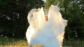 Привлекательная молодая белокурая невеста скача и имея потеха в зеленом луге в солнечном летнем дне акции видеоматериалы