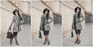 Привлекательная молодая женщина в съемке способа зимы Красивая модная маленькая девочка в черный представлять на бульваре Шикарно стоковое фото rf