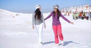 Привлекательная молодая женщина 2 идя в свежий снег Стоковое Изображение RF