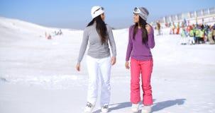 Привлекательная молодая женщина 2 идя в свежий снег Стоковые Фото