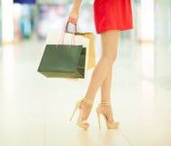 привлекательная предпосылка кладет красивейший женским портрет в мешки нося девушки шикарный изолированный удерживанием несколько Стоковое фото RF