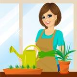 Привлекательная симпатичная домохозяйка на балконе иллюстрация вектора
