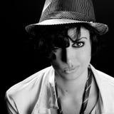 Привлекательная элегантная сексуальная женщина с шляпой - ретро стилем Стоковое фото RF