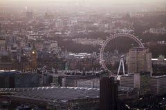 Привлекательности Лондона на заходе солнца Стоковая Фотография