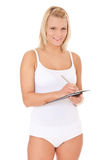привлекательные изолированные детеныши женщины нижнего белья Стоковое фото RF