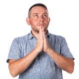 Привлекательный взрослый человек с стерней в молить рубашки лета стоковое фото rf