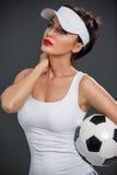 Привлекательный малыш с футбольным мячом стоковые изображения