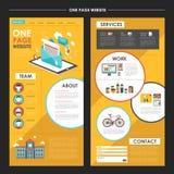 Привлекательный один дизайн шаблона вебсайта страницы с elem информационого бюллетеня Стоковое Изображение RF
