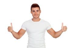 Привлекательный парень с spiky волосами говоря о'кеы Стоковая Фотография RF