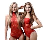 2 привлекательных атлетических девушки Стоковое Изображение RF