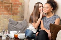 2 привлекательных девушки в кафе Стоковые Фото