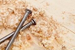пригвождает древесину shavings поверхностную Стоковое Изображение