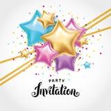 Приглашение букета воздушного шара звезды золота Стоковое Изображение