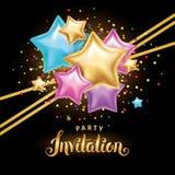 Приглашение букета воздушного шара звезды цвета золота Стоковые Изображения