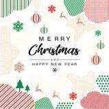 Приглашение веселого рождества с Мемфисом и gemoetric дизайном иллюстрация вектора