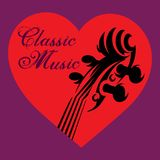 Приглашение к концерту классической музыки с скрипкой в сердце Стоковые Фото