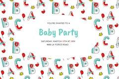 Приглашение партии младенца шаржа вектора Шаблон картины с шаржем детей иллюстрация штока