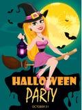 Приглашение партии хеллоуина Красивое летание ведьмы дамы на венике и лампе удерживания иллюстрация штока