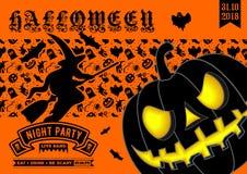 Приглашение партии хеллоуина, плакат или шаблон знамени иллюстрация штока